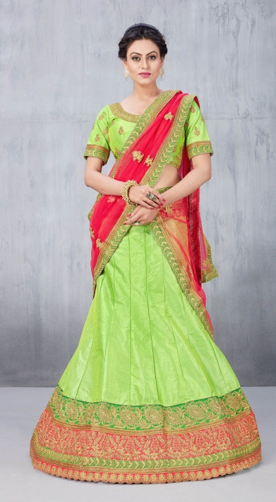 Party Wear Green Lehenga 153