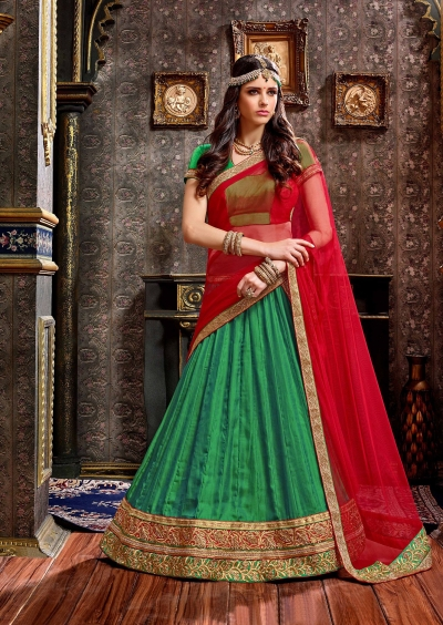 Party Wear Green Red Lehenga 2002