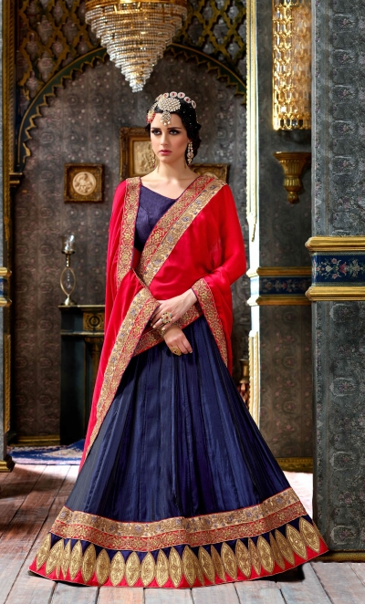 Party Wear Blue Red Lehenga 2003