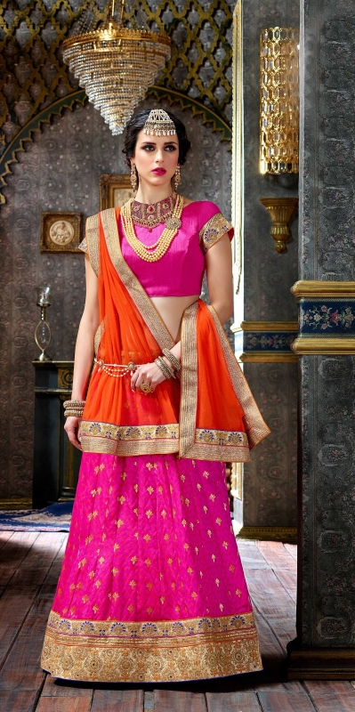 Party Wear Pink Orange Lehenga 2004