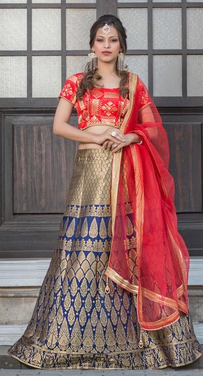 Party Wear Pure Silk Blue Red Lehenga k108