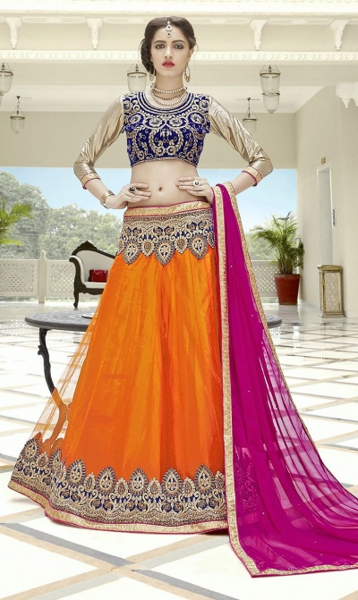 Party Wear Orange Blue Pink Color Lehenga 7216