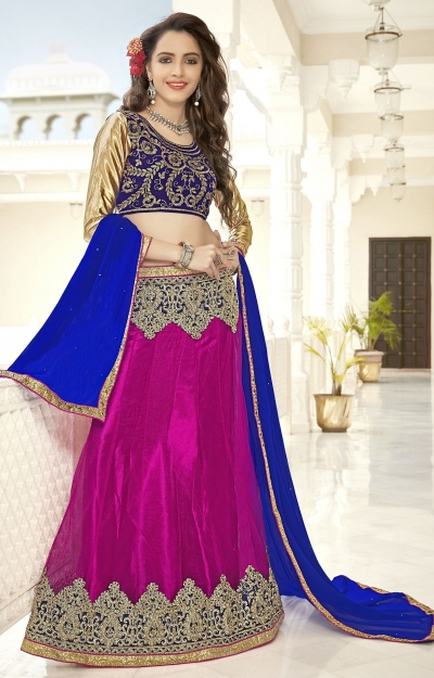 Party Wear Wine Blue Blue Color Lehenga 7217