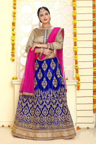 Party Wear Blue Pink Lehenga 7334