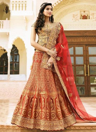 red art dupion silk wedding lehenga 13050