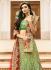 green art dupion silk wedding lehenga 13052