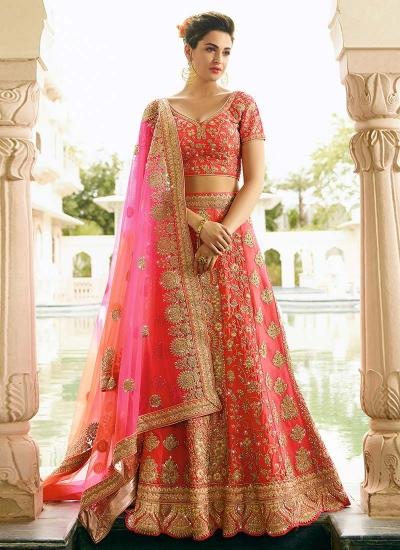 peach art dupion silk wedding lehenga 13056