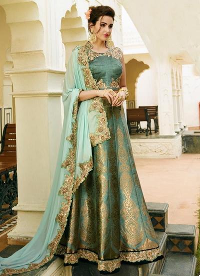 turquoise banarasi silk wedding lehenga 13057