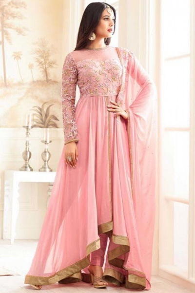 sonal chauhan georgette light pink party wear anarkali 4608