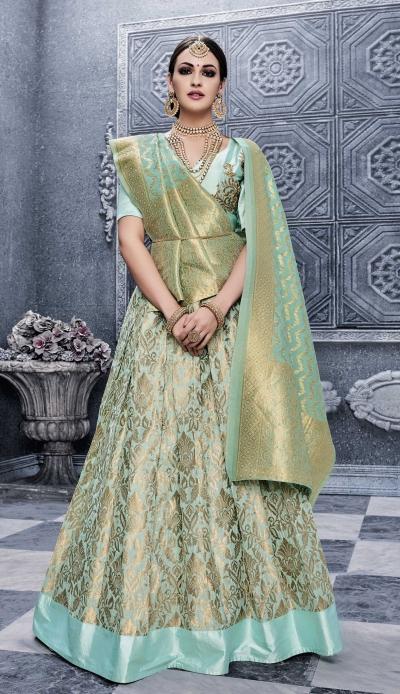 Party Wear Pure banarsi silk Green Lehenga 25003
