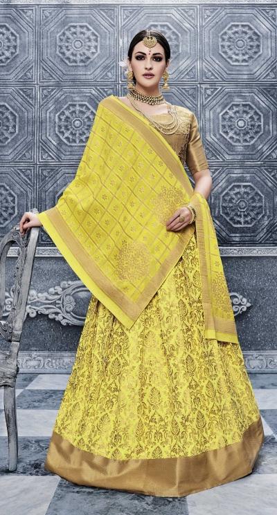 Party Wear Pure banarsi silk Yellow Lehenga 25004