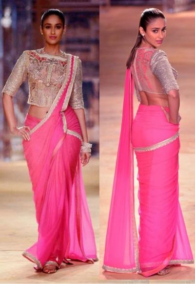 Amazing Ileana-d-cruz Pink designer saree