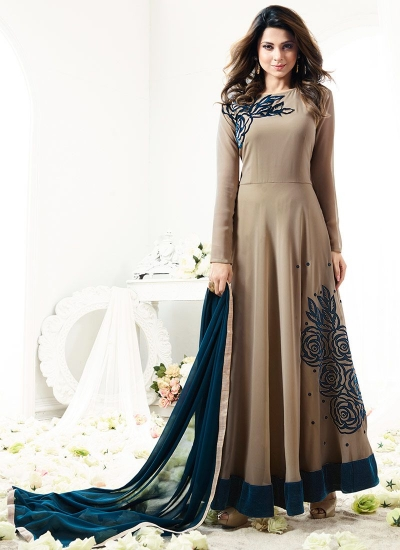 Jennifer Winget beige georgette anarkali suit 1112