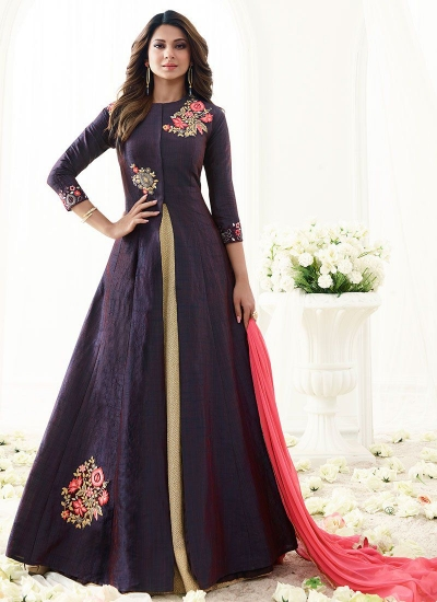Jennifer Winget blue art silk umbrella lehenga kameez 1113