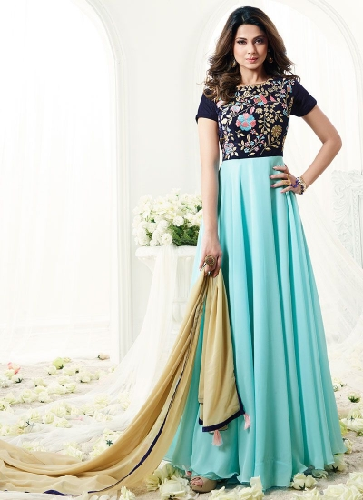 Jennifer Winget blue georgette anarkali suit 1114