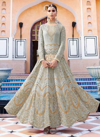 Grey georgette party wear anarkali suit 11003