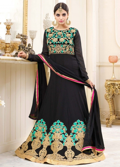 Black georgette party wear anarkali 9116