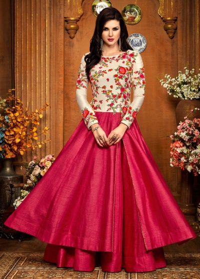Pink silk party wear anarkali 2484