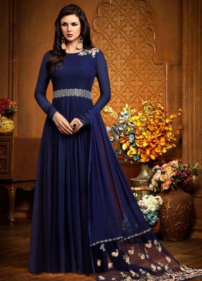 Blue georgette party wear anarkali 2485