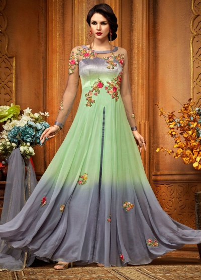 Green georgette party wear anarkali 2488