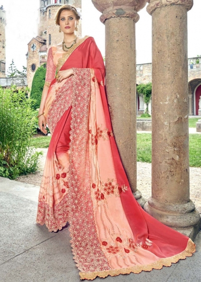 Peach Faux Georgette Embroidered Wedding Saree 4201