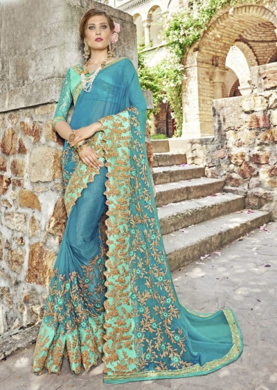 Green Chiffon Embroidered Wedding Saree 4202