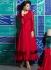 Georgette Maroon Tiered ankle Length designer anarkali