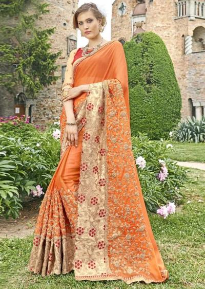 Orange Faux Georgette Embroidered Wedding Saree 4203