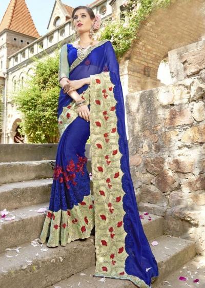 Blue Chiffon Embroidered Wedding Saree 4207