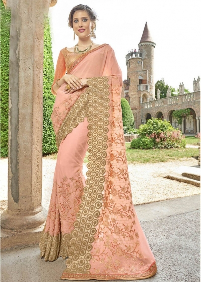 Peach Faux Georgette Embroidered Wedding Saree 4212