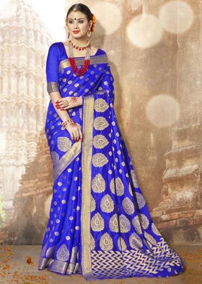 Blue Banarasi Silk Woven Festive Saree 3903