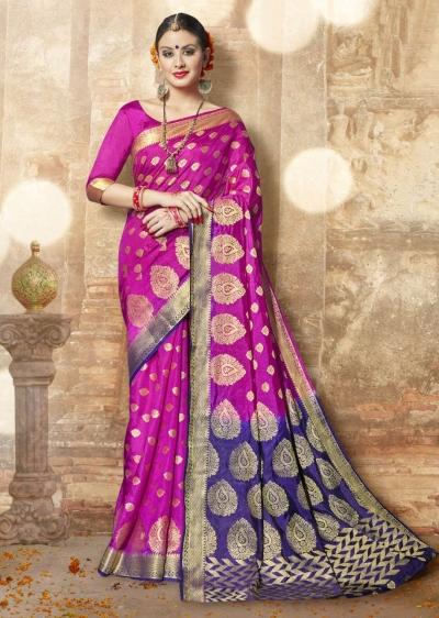 Pink Banarasi Silk Woven Festive Saree 3904