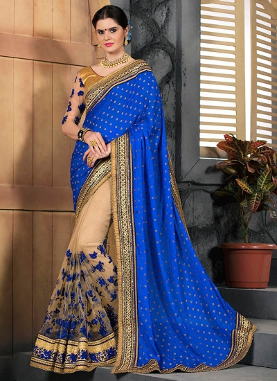 Beige and royal blue party wear saree 2001