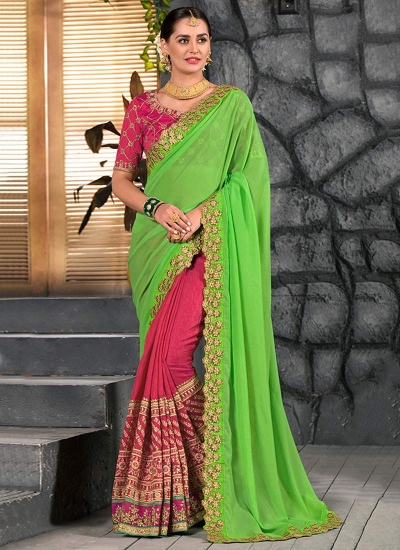 Pink and green party wear saree 2003