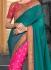 Pink and teal green half and half saree 2012