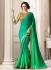 Green satin blend border saree 40001