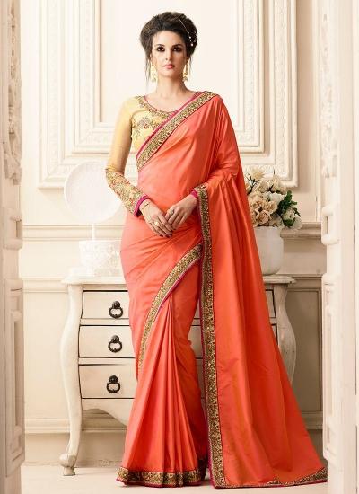 Orange art silk border designer saree 40002