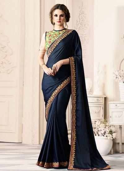 Navy blue satin blend party wear saree 40003