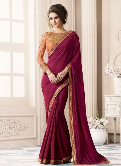 Wine color satin designer saree 40004