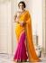 Pink and yellow half and half designer saree 40006