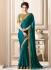 Teal art silk border designer saree 40007