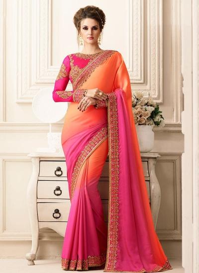 Pink and orange satin designer saree 40008