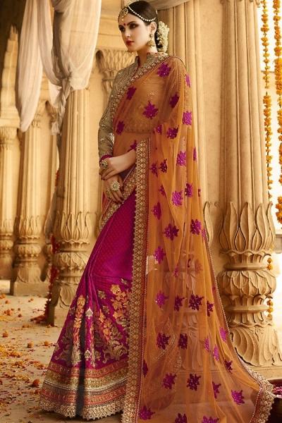 kollybollyethnics orange red wedding sarees 6003