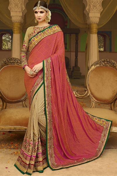 Beige pink wedding sarees 6006