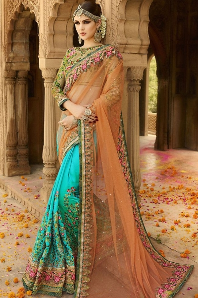 blue peach wedding sarees 6009