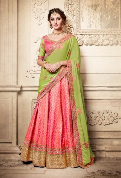 Party Wear Green Pink Lehenga 4081