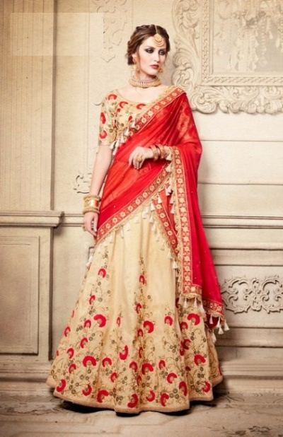 Party Wear Red Lehenga 4085