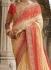 Party wear cream georgette chiffon saree 1952