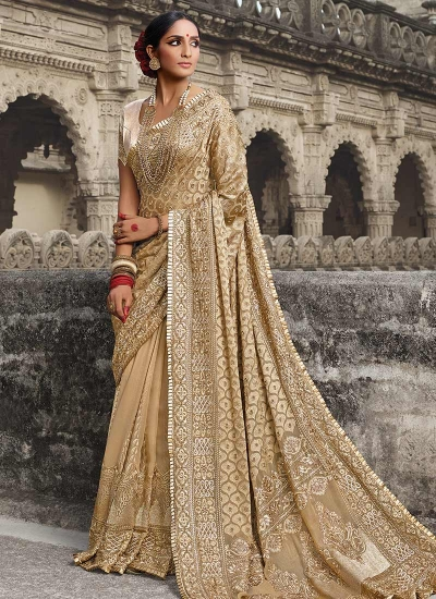 Part wear beige georgette saree 1954