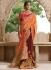 Party wear brown n orange half n half saree 1957